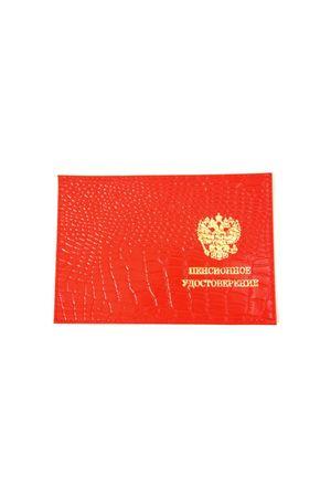 Обложка для пенсионного удостоверения красная репт